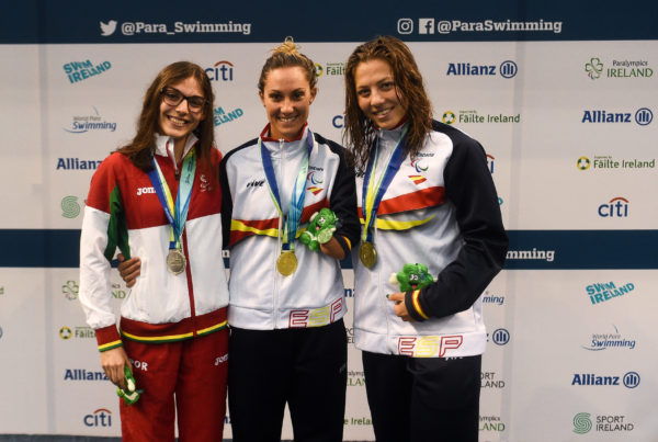 19 August 2018; Medallists in the Women's 50m Freestyle S9 event, from left, silver medallist Susana Veiga of Portugal, gold medallist Sarai Gascon of Spain, and bronze medallist Nuria Marques Soto of Spain, during day seven of the World Para Swimming Allianz European Championships at the Sport Ireland National Aquatic Centre in Blanchardstown, Dublin. Photo by David Fitzgerald/Sportsfile *** NO REPRODUCTION FEE ***